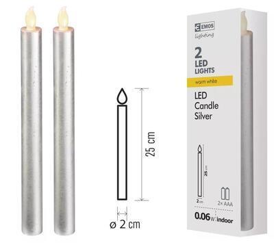 EMOS Lighting ZY2271 LED sviečky, 25cm, metalické